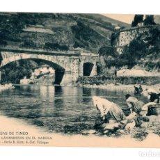 Postales: CANGAS DE TINEO.(ASTURIAS).- LAVANDERAS EN EL NARCEA.. Lote 248062045
