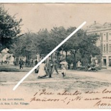 Postales: PRECIOSA POSTAL - GIJON (ASTURIAS) - PLAZA DE SAN MIGUEL - FOT.VILLEGAS. Lote 248178550