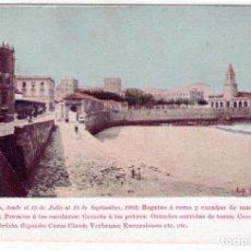 Postales: PRECIOSA POSTAL - GIJON (ASTURIAS) - FESTEJOS EN GIJON AÑO 1903 - LA PLAYA - ARTES GRAFICAS - GIJON. Lote 248437595