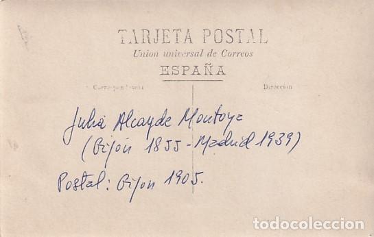 Postales: Postal fotográfica, con la imagen y la firma de la pintora Julia Alcayde Montoya Gijón 1905 - Foto 2 - 252935875