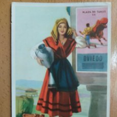 Cartes Postales: TARJETA POSTAL TRAJE TIPICO PLAZA DE TOROS OVIEDO ILUSTRADOR J. BRIONES. Lote 259298530