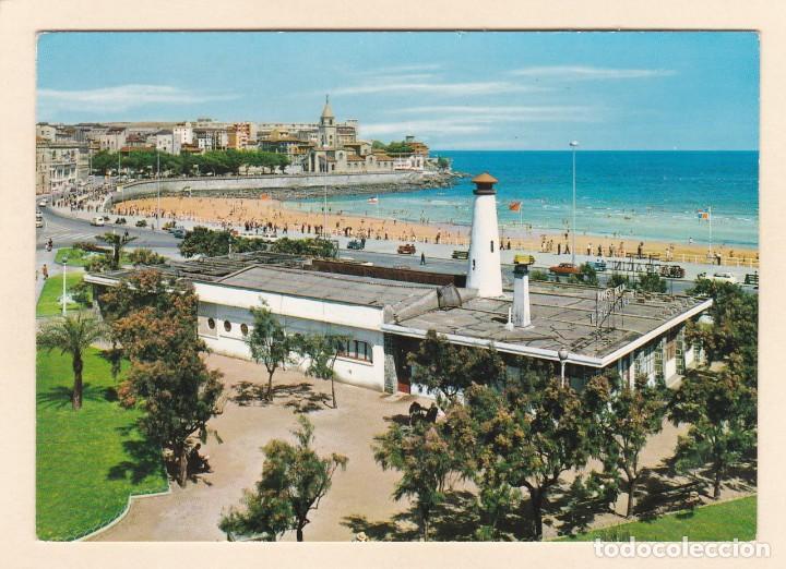 POSTAL CLUB NAUTICO Y PLAYA DE SAN LORENZO. GIJON (1969) (Postales - España - Asturias Moderna (desde 1.940))