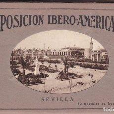 Postales: SEVILLA, BLOC COMPLETO CON 20 POSTALES EXPOSICION IBERO AMERICANA. ED. MUMBRÚ BARCELONA. Lote 261984490