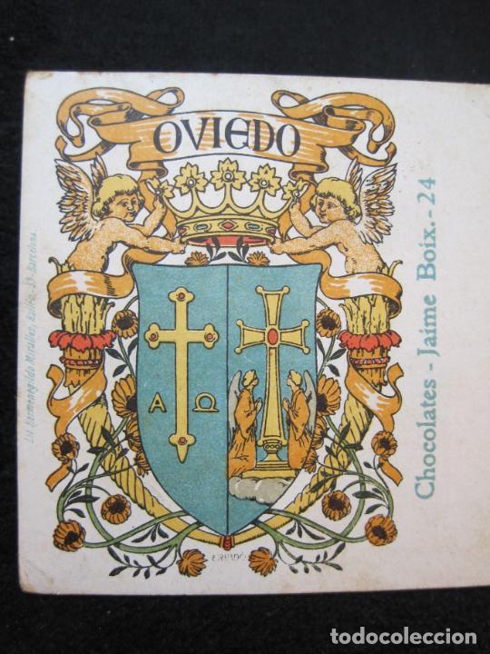 Postales: OVIEDO-ESCUDO-DIBUJO TRIADO-CHOCOLATES JAIME BOIX-REVERSO SIN DIVIDIR-POSTAL ANTIGUA-(80.393) - Foto 2 - 262283365