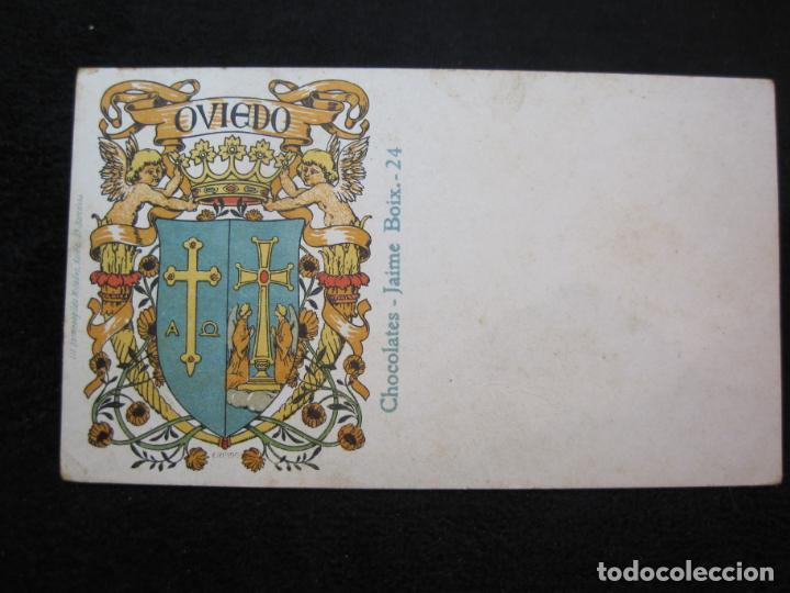 OVIEDO-ESCUDO-DIBUJO TRIADO-CHOCOLATES JAIME BOIX-REVERSO SIN DIVIDIR-POSTAL ANTIGUA-(80.393) (Postales - España - Asturias Antigua (hasta 1.939))