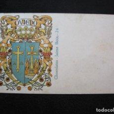 Postales: OVIEDO-ESCUDO-DIBUJO TRIADO-CHOCOLATES JAIME BOIX-REVERSO SIN DIVIDIR-POSTAL ANTIGUA-(80.393). Lote 262283365