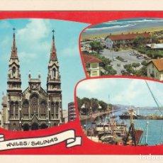 Postales: POSTAL IGLESIA SANTO TOMAS DE CANTERBURY. AVILÉS. VISTA PARCIAL SALINAS Y EL PUERTO (1973). Lote 262647040