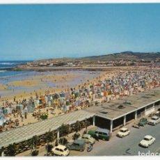 Postales: EM0854 GIJON PLAYA ZONA MIAMI 1962 ESCUDO DE ORO Nº7 SEAT 600 CABRIO GORDINI 2CV 4CV PEUGEOT 403. Lote 262665710