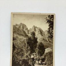 Cartes Postales: POSTAL ASTURIAS. PICOS DE EUROPA DESDE POSADA DE VALDEÓN. HUECOGRABADO RIEUSSET. Lote 269141768