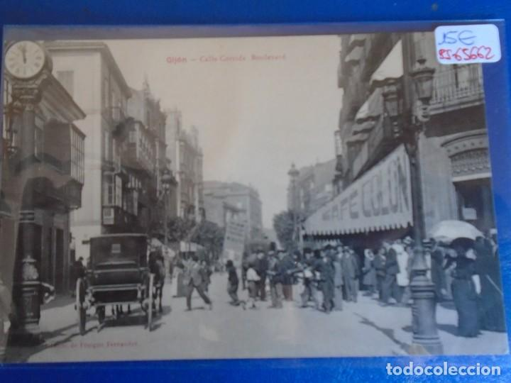 (PS-65662)POSTAL DE GIJON-CALLE CORRIDA BOULEVARD.EDICION DE BENIGNO FERNANDEZ (Postales - España - Asturias Antigua (hasta 1.939))