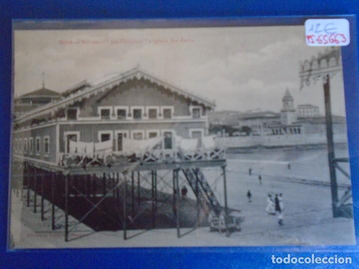 (PS-65663)POSTAL DE GIJON-BALNEARIO LAS CAROLINAS E IGLESIA SAN PEDRO.EDICION DE BENIGNO FERNANDEZ (Postales - España - Asturias Antigua (hasta 1.939))