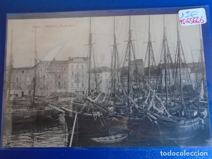 (PS-65666)POSTAL DE GIJON-DARSENA Y HOTEL MALET.EDICION BENIGNO FERNANDEZ (Postales - España - Asturias Antigua (hasta 1.939))