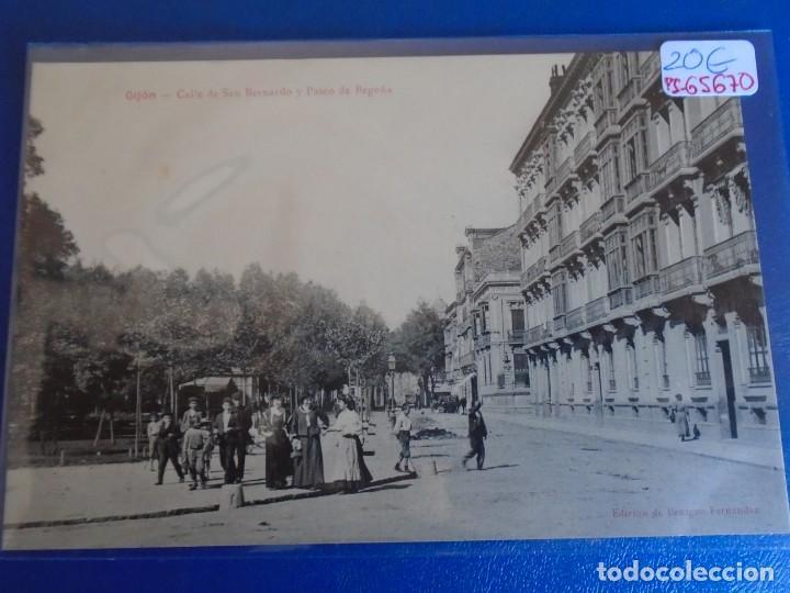 (PS-65670)POSTAL DE GIJON-CALLE DE SAN BERNARDO Y PASEO BEGOÑA.EDICION BENIGNO FERNANDEZ (Postales - España - Asturias Antigua (hasta 1.939))