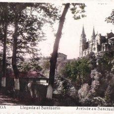 Postales: COVADONGA LLEGADA AL SANTUARIO. NO CONSTA EDITOR. BYN COLOREADA. CIRCULADA. Lote 271649578