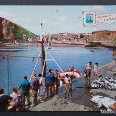 Postales: CANDAS ( CARREÑO) , DESEMBARCANDO LA PESCA, POSTAL CIRCULADA CON SELLO DEL AÑO 1967. Lote 278401373