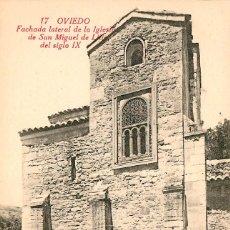 Postales: EA134 OVIEDO - FACHADA LATERAL DE LA IGLESIA DE SAN MIGUEL DE LILLO DEL SIGLO IX - CASTAÑEIRA Nº1. Lote 278868763