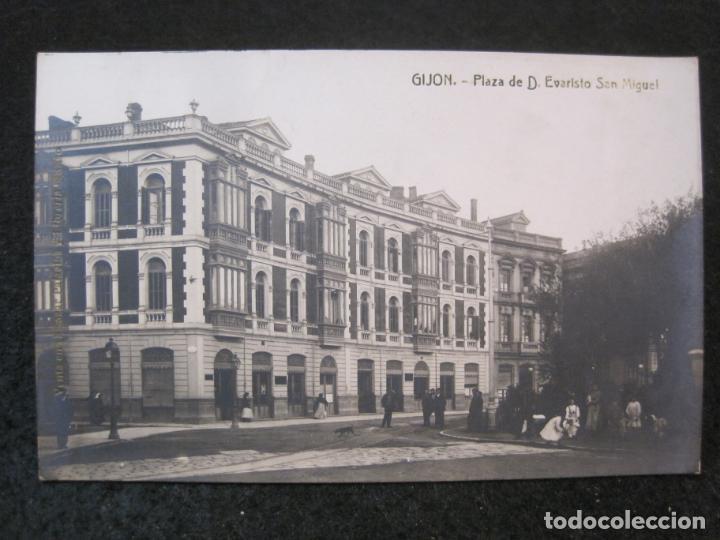 GIJON-PLAZA DE EVARISTO SAN MIGUEL-FOTOGRAFICA THOMAS-POSTAL ANTIGUA-(82.749) (Postales - España - Asturias Antigua (hasta 1.939))