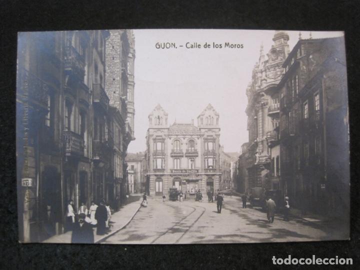 GIJON-CALLE DE LOS MOROS-FOTOGRAFICA THOMAS-POSTAL ANTIGUA-(82.751) (Postales - España - Asturias Antigua (hasta 1.939))