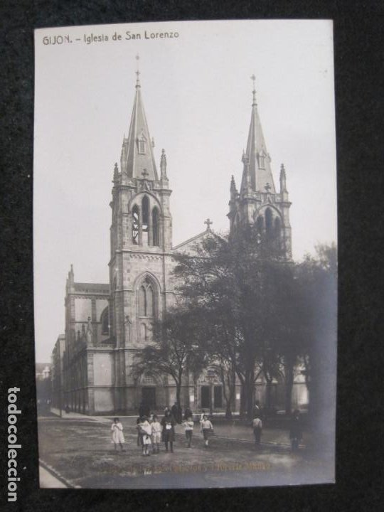GIJON-IGLESIA DE SAN LORENZO-FOTOGRAFICA THOMAS-POSTAL ANTIGUA-(82.753) (Postales - España - Asturias Antigua (hasta 1.939))
