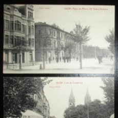 Postales: DOS POSTALES VINCK DE GIJÓN. CALLE COVADONGA Y PASEO ALFONSO XII-TEATRO DINDURRA. 1924.. Lote 284718458