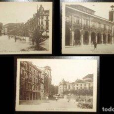 Postales: TRES POSTALES DE OVIEDO. AYUNTAMIENTO, ARGÜELLES Y PASEO DEL PRÍNCIPE. AÑOS 20/30.. Lote 285305358