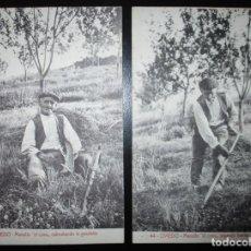 Postales: DOS POSTALES DE OVIEDO: MANOLÍN EL COXU CABRUÑANDO Y SEGANDO. SIN CIRCULAR.. Lote 292298903