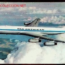 Postales: ANTIGUA POSTAL DE AVION BOEING 707 INTERCONTINENTAL JET CLIPPER - PAN AMERICAN . Lote 2186606