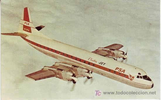POSTAL DE AVION PACIFIC SOUTHWEST AIRLINES LOCKHEED L-188C ELECTRA (Postales - Postales Temáticas - Aeroplanos, Zeppelines y Globos)
