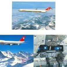 Postales: 3 POSTALES SWISSAIR AVIONES ,,, SIN CIRCULAR AÑOS 70. Lote 26331879