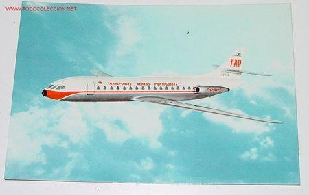 ANTIGUA POSTAL AVION - CARAVELA VI-R - PORTUGUESE AIRWAYS - NO CIRCULADA. (Postales - Postales Temáticas - Aeroplanos, Zeppelines y Globos)