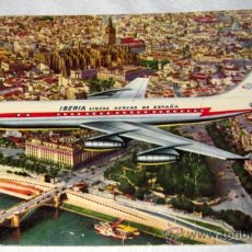 Postales: ANTIGUA POSTAL DE AVION DE IBERIA SOBREVOLANDO SEVILLA JET DC-8 - NO CIRCULADA - EN -. Lote 20585449