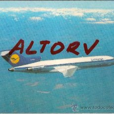 Postales: POSTAL A COLOR LUFTHANSA B727 EUROPA JET CON CARACTERISTICAS TECNICAS PRINTED IN GERMANY. Lote 11526592
