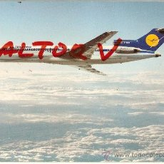 Postales: POSTAL A COLOR LUFTHANSA BOEING 727 EUROPA JET CON CARACTERISTICAS TECNICAS PRINTED SWITZERLAND. Lote 11526602