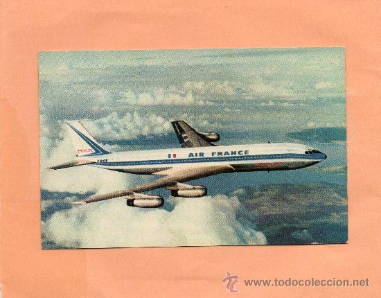 AIR FRANCE. AVIÓN. BOEING 707 INTERCONTINENTAL. PUBLICIDAD. SIN CIRCULAR. (Postales - Postales Temáticas - Aeroplanos, Zeppelines y Globos)