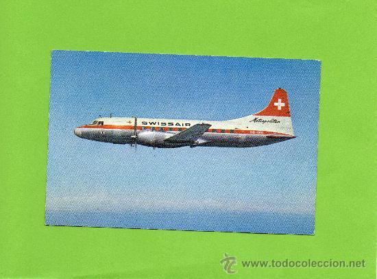 SWISSAIR. METROPOLITAN. AVIACIÓN. SIN CIRCULAR. AVIÓN. (Postales - Postales Temáticas - Aeroplanos, Zeppelines y Globos)