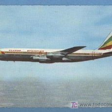 Postales: BOEING 707 INTERCONTINENTAL FAN JET - ETHIOPIAN AIRLINES. Lote 27346227