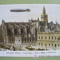 Postales: POSTAL PUBLICIDAD : SEVILLA - ZEPPELIN - LAB QUÍMICO FARMACÉUTICO DOCT. MARIN. CIRCULADA CON SELLO.. Lote 19579572
