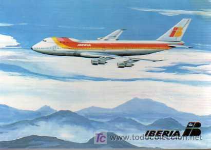 POSTAL DE IBERIA - LINEAS AEREAS BOEING 747 (Postales - Postales Temáticas - Aeroplanos, Zeppelines y Globos)