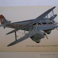 Postales: POSTAL DE AVION: 1934 D.H.89 DRAGON RAPIDE LIGHT TRANSPORT (CIRCULADA 1981). Lote 21940772