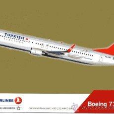 Postales: POSTAL DE AVIÓN BOEING 737-800 (TURKISH AIRLINES). Lote 24151557