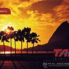 Postales: POSTAL DE COMPAÑIA AEREA - TAM AIRLINES (RIO DE JANEIRO). CON AVIÓN EN EL REVERSO. Lote 24414712