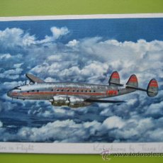 Postales: TWA. CONSTELLATION IN FLIGHT. KODACHROME. CON TARIFAS.. Lote 28419997