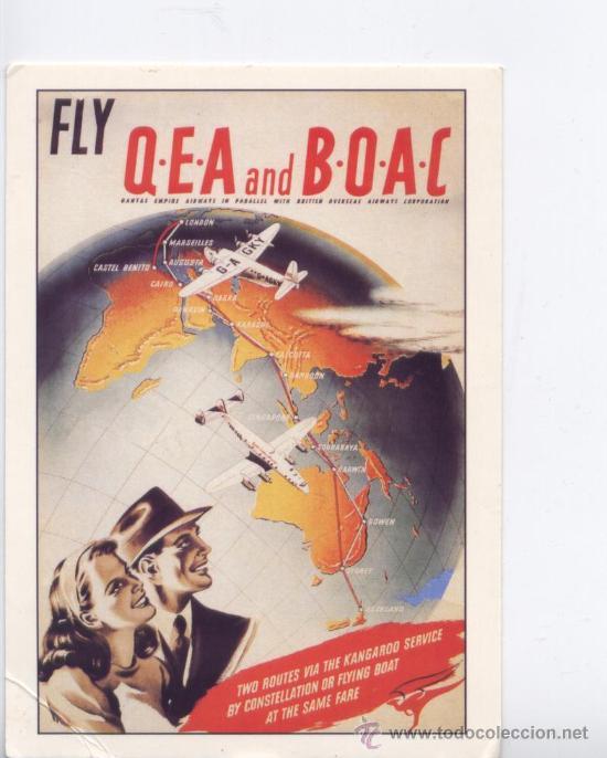 POSTAL TEMA AVION, CARTEL PUBLICITARIO DE QEA-BOAC, IMPRESO EN AUSTRALIA (Postales - Postales Temáticas - Aeroplanos, Zeppelines y Globos)