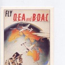Postales: POSTAL TEMA AVION, CARTEL PUBLICITARIO DE QEA-BOAC, IMPRESO EN AUSTRALIA. Lote 26334214