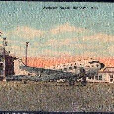 Postales: TARJETA POSTAL DE UN AVION DE ROCHESTER AIRPORT, ROCHESTER, MINN. Lote 26537897
