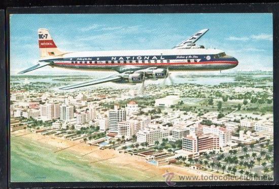 TARJETA POSTAL DEL AVION NATIONAL AIRLINES DC - 7 (Postales - Postales Temáticas - Aeroplanos, Zeppelines y Globos)