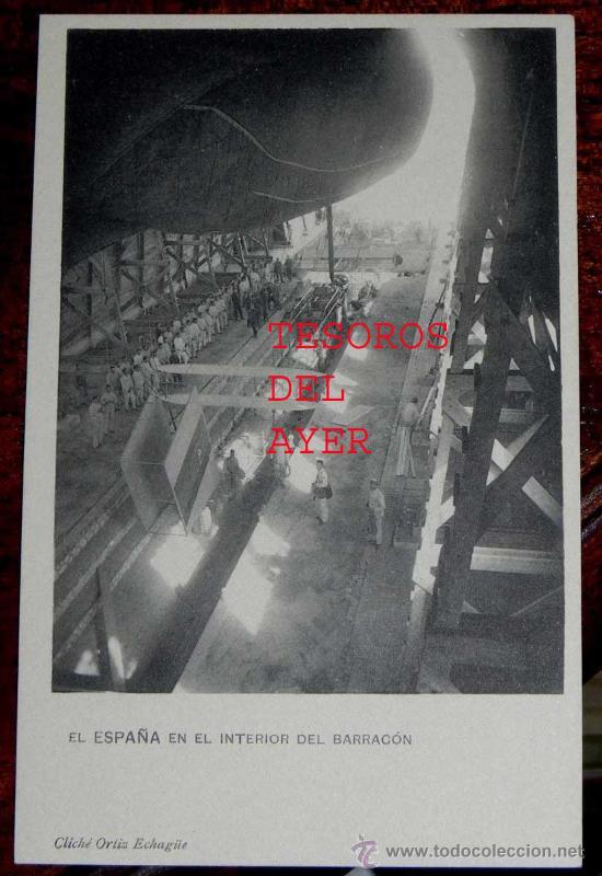 ANTIGUA Y EXCEPCIONAL POSTAL DE EL ESPAÑA EN EL INTERIOR DEL BARRACON - DIRIGIBLE DESDE GUADALAJARA (Postales - Postales Temáticas - Aeroplanos, Zeppelines y Globos)