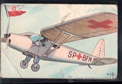 TARJETA POSTAL DE MONOPLANO AMBULANCIA DE POLONIA R.W.D 13S (Postales - Postales Temáticas - Aeroplanos, Zeppelines y Globos)