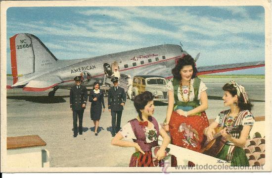 POSTAL TEMA AVION,AMERICAN AIRLINES, VOLANDO POR LA RUTA DE LOS (FLAGSHIPS) IN FLIGHT, (Postales - Postales Temáticas - Aeroplanos, Zeppelines y Globos)
