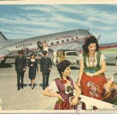 Postales: POSTAL TEMA AVION,AMERICAN AIRLINES, VOLANDO POR LA RUTA DE LOS (FLAGSHIPS) IN FLIGHT,. Lote 29103729
